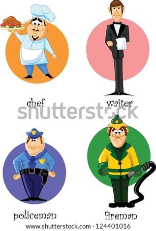Cartoon characters - chef, policeman, fireman, waiter - stock vector