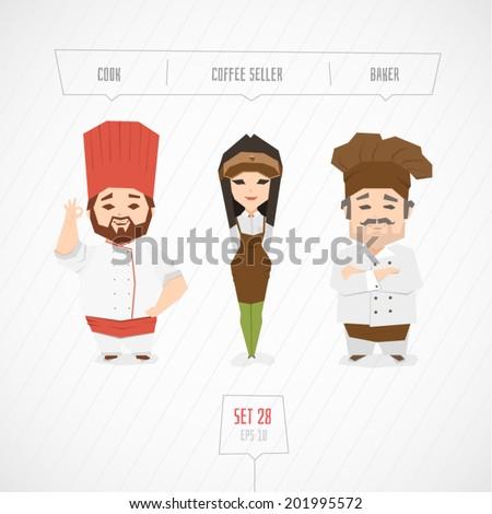 Cartoon characters cook coffee seller baker vector illustration - stock vector
