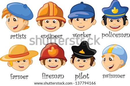 Cartoon characters of different professions - stock vector