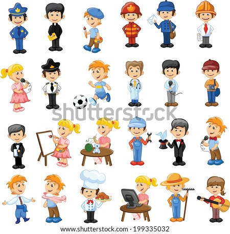 Stock Vector Cartoon Characters Of Different Professions Worker Man Careers Team
