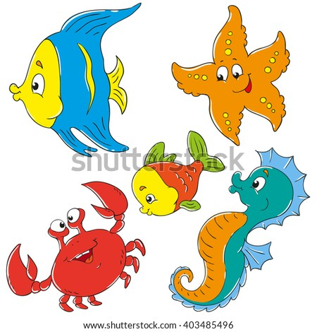 Cartoon characters underwater world collection