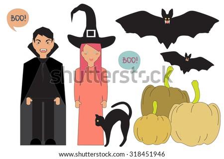 Cartoon Characters. Witch, Vampire, Bats, Pumpkin. Vector Illustration of Happy Halloween. - stock vector