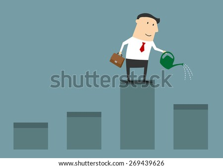 Cartoon cheerful businessman with briefcase and bailer standing on financial bar graph and watering chart for growth profit for business development concept design - stock vector