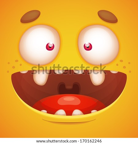 Cartoon Cheerful Face - stock vector