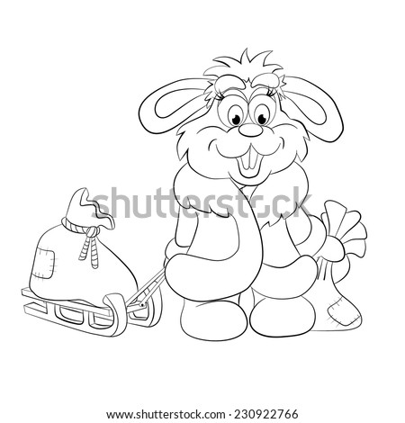 Cartoon cheerful hare lucky bags with gifts on sledge. Coloring book. - stock vector