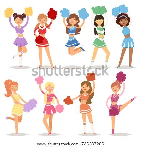 Cartoon Cheerleaders Girls Sport Fan Dancing Stock Vector 735287905
