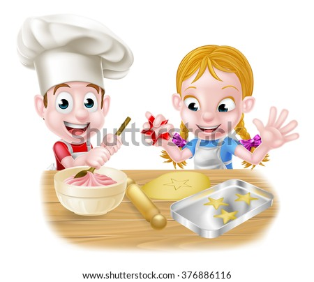 Cartoon chef children baking dessert cakes and biscuits in the kitchen  - stock vector