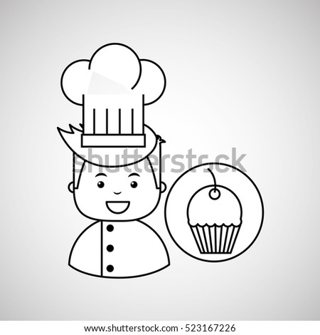 cartoon chef gourmet sweet cup cake vector illustration eps 10