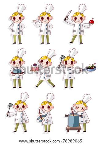 cartoon chef icon - stock vector
