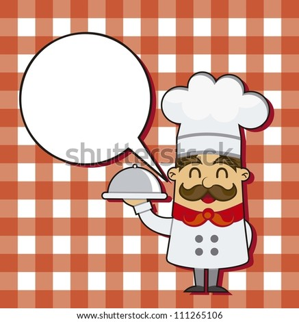 cartoon chef over squares background. vector illustration - stock vector