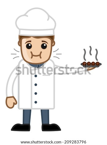 Cartoon Chef Tasting His Own Dish Vector - stock vector