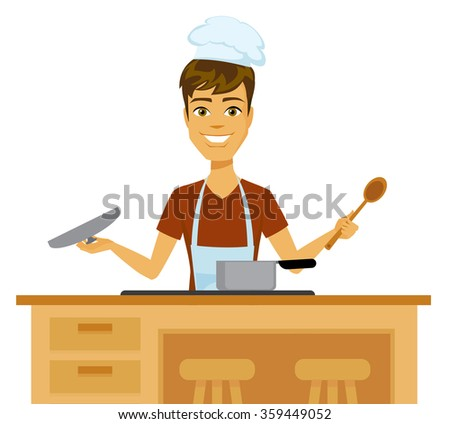 Cartoon chef wearing a hat and apron cooking at the stove. - stock vector