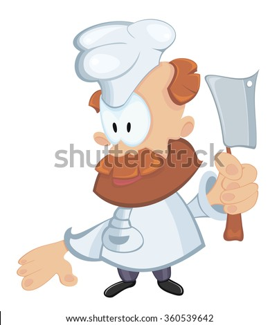 Cartoon chef with carving knife - stock vector