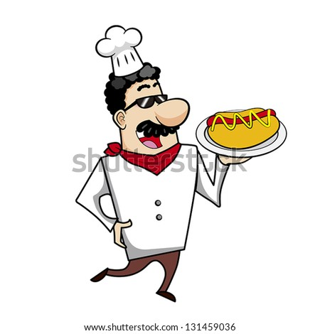 Cartoon chef with hot dog vector illustration.