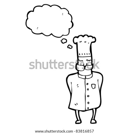 cartoon chef with thought bubble - stock vector