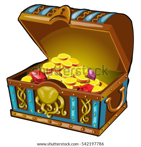 Treasure Chest Full Gold Jewels Vector Stock Vector ...