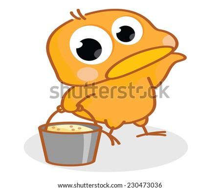 cartoon chick carrying a bucket - stock vector