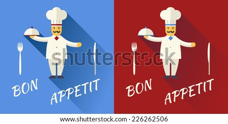 Cartoon Chief Cook Character Symbol Toque Cuisine Hat with Mustache Hold Lid Food Icon on Stylish Background Modern Flat Design Vector Illustration - stock vector