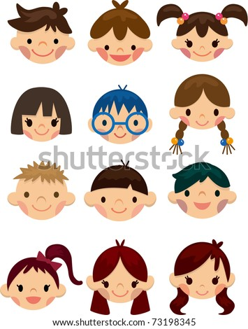 cartoon child face icon - stock vector