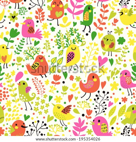Cartoon childish seamless pattern in vector. Cute funny birds in flowers. Seamless pattern can be used for wallpapers, pattern fills, web page backgrounds,surface textures - stock vector
