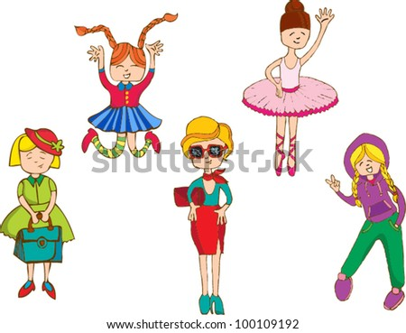 cartoon children and girls set - stock vector