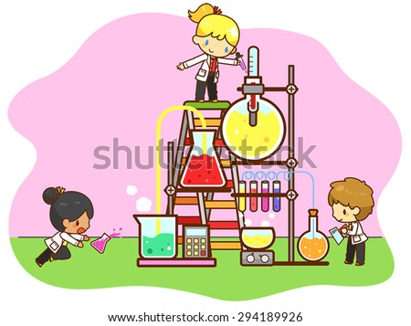 Cartoon children are studying chemistry, working and experimenting in the cooling tower refinery laboratory with huge test tube in isolated background, create by vector - stock vector