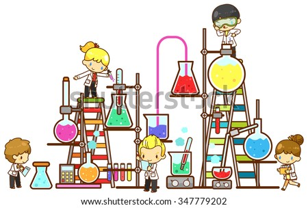 Cartoon children kid student are studying chemistry, working and experimenting in massive cooling tower refinery laboratory with huge test tube beaker and science tool in isolated background (vector)