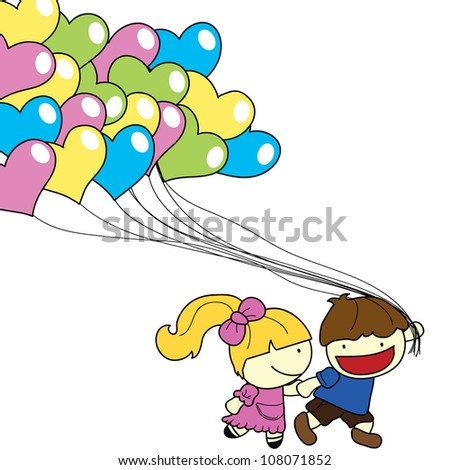 cartoon children with heart balloons clipart background
