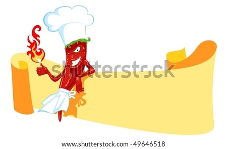 cartoon chili chef with fire and banner - stock vector