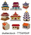 cartoon Chinese house icon set - stock photo