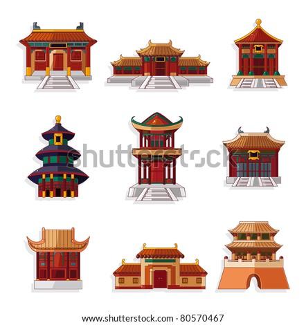 cartoon Chinese house icon set - stock vector