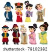 cartoon Chinese people icon set - stock vector