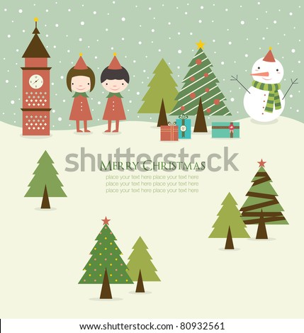 Cartoon Christmas Background in Retro Style. - stock vector