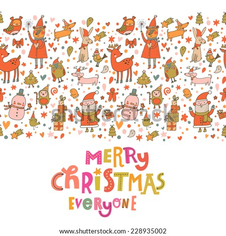 Cartoon Christmas card for winter holidays designs in bright colors. Stylish New Year and Christmas background in vector. Holiday seamless pattern - stock vector