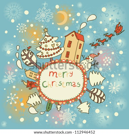 Cartoon Christmas card. Holiday background on New Year theme in vector - stock vector