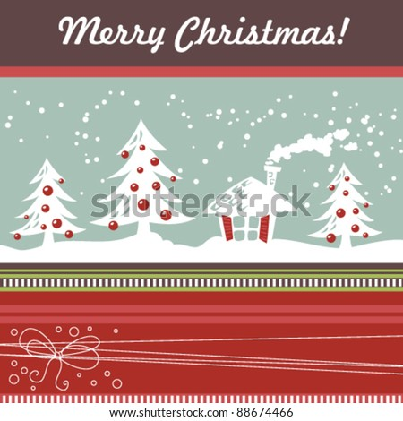 Cartoon Christmas card with xmas tree, balls, house and decorative lace - stock vector