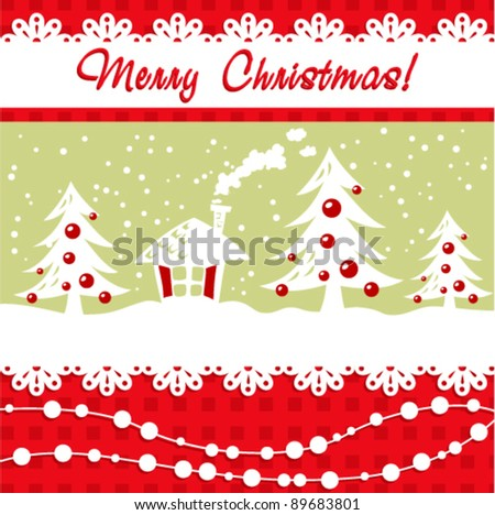 Cartoon Christmas card with xmas tree, balls, house and decorative lace and beads - stock vector