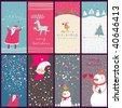 Cartoon Christmas cards - stock photo
