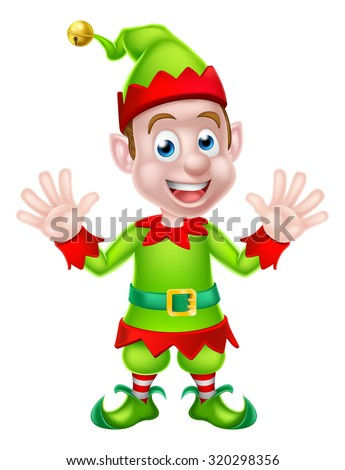 Cartoon Christmas Elf or Santa Christmas helper waving with both hands - stock vector