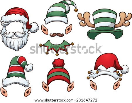 Cartoon Christmas Hats. Vector clip art illustration with simple gradients. Each on a separate layer. - stock vector