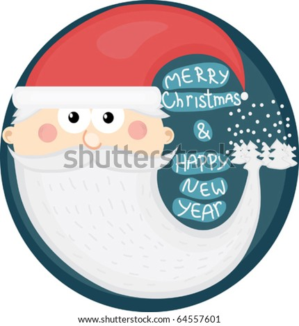 Cartoon Christmas postcard with Santa Claus - stock vector