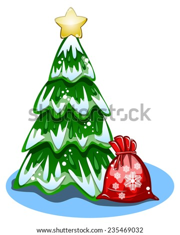 cartoon Christmas tree and a bag of gifts on white background vector - stock vector