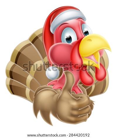 Cartoon Christmas turkey mascot giving a thumbs up and wearing a Christmas Santa hat - stock vector