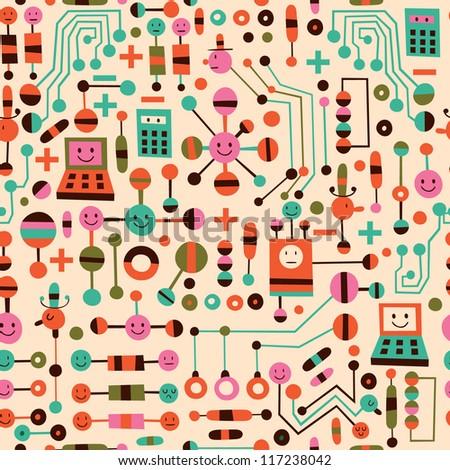 cartoon circuit board - stock vector