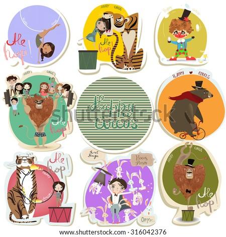 cartoon circus set - stock vector
