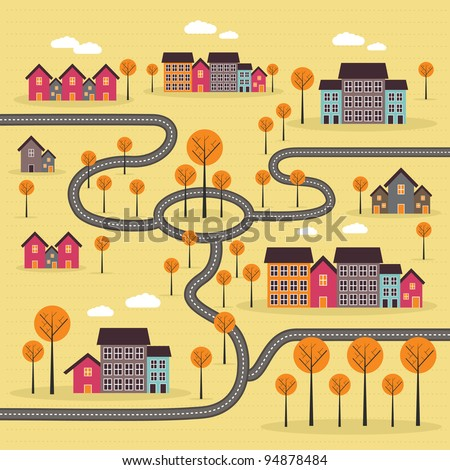 cartoon city - stock vector