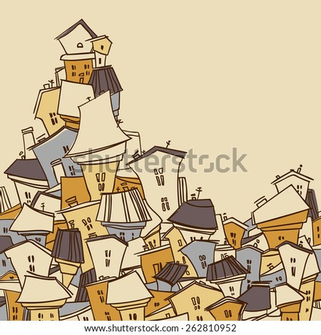 Cartoon city. Abstract image of houses. Vector illustration. Greeting card.