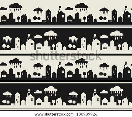 Cartoon city seamless pattern. Vector background with buildings, clouds and trees.  - stock vector
