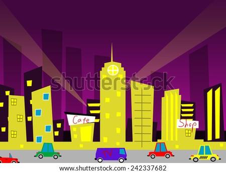 Cartoon city. Vector eps 10 - stock vector