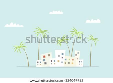 cartoon city with palm - stock vector